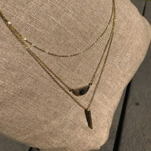 Three Chain Long Necklace
